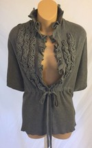 anthropologie Knitted and Knotted Sweater Shrug Gray Cashmere Cotton Sma... - $22.99