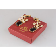 De Liguoro Vintage Haute Couture Gold Metal Crystal Bow Clip On Earrings - $173.25