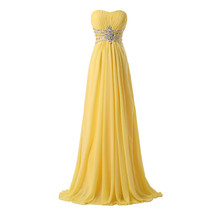 Yellow Chiffon Prom Gown at Bling Brides Bouquet online bridal store - $99.99+