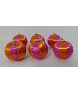 6 Vintage Christmas Tree Ornaments Orange Pink Gold Top India Rare Colle... - $25.74