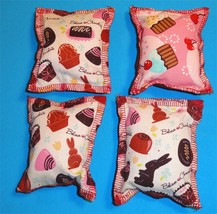 Cat Catnip Pillow Toy - Hand Made Chocolate Bunny Patterns Rectangle - 4 ea - $5.50