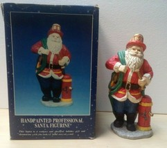 Hand painted Professional Firefighter Santa Figurine 10 inches tall - $54.99