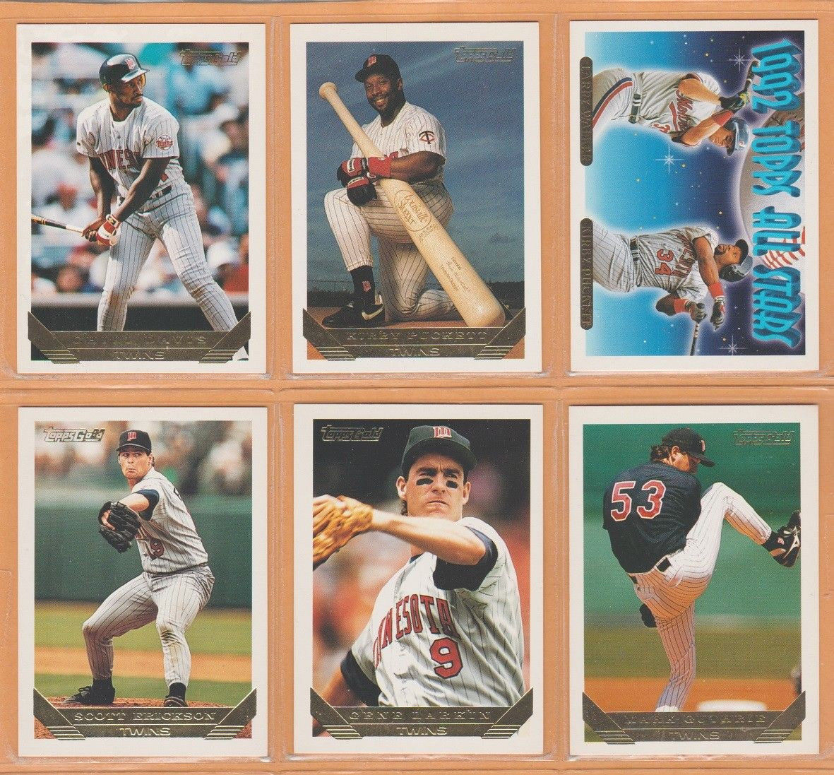 1993 Topps Gold Insert Minnesota Twins Team Lot Kirby Puckett Chili Davis +