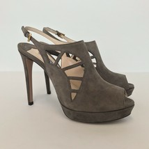 L-1742153 New Prada Gray Cut-out Suede Heels Marked Size 38 US 8 - $247.34