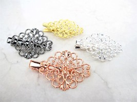 Antique style gold , silver or rose gold filigree alligator hair clip fi... - €7,11 EUR
