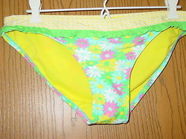 6312468171 Xhilaration yellow floral ruffle bikini bottoms swimsuit-S-NWT NEW -  9.46