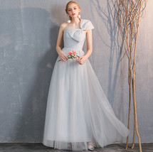 Floor Length Maxi Bridesmaid Dresses Tulle Wedding Dress Light Gray Off Shoulder image 4