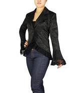 BLACK GOTHIC LACE TRIM CORSET JACQUARD JACKET WAVY VICTORIAN STEAMPUNK V... - $61.95