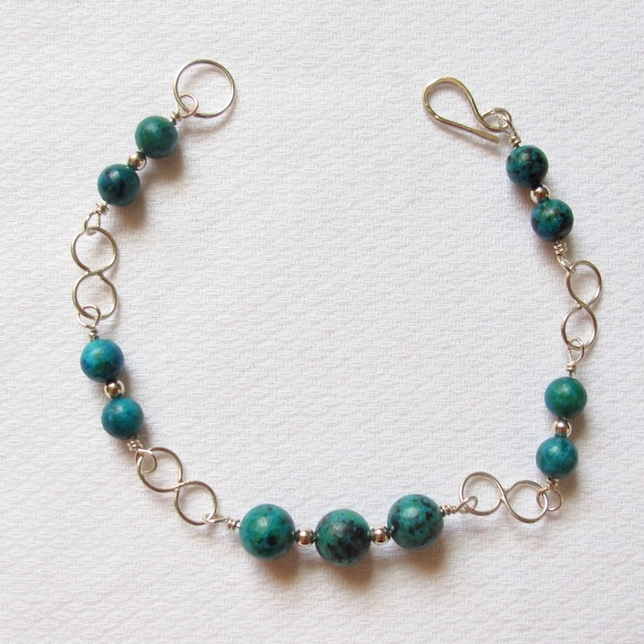 Sterling Silver and Malachite Bracelet w/ Infinity Links