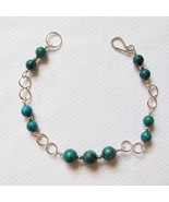 Sterling Silver and Malachite Bracelet w/ Infinity Links - $30.00