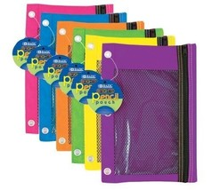 Wholesale Lot 24 PC Zippered Pencil Case Pouch 3-Ring Bright Color Cases... - $39.59