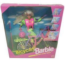 Vintage 1993 Mattel Barbie Doll Bicyclin' Biking Pink Bike # 11689 Set In Box - $55.17