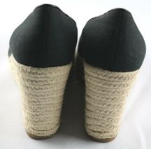 Steve Madden Peep Wedges Womens Size 6 Black Canvas Slip On High Heel Shoes image 5