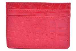 Stylish Alizarin Red Five Card Slots Pure Crocodile Leather New Card Wallet - $179.99