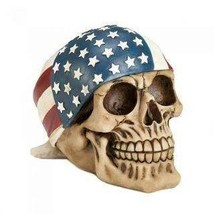 AMERICAN FLAG BANDANA SKULL FIGURINE  - $14.99