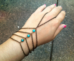 Bohemian Turquoise Slave Bracelet Caged Hand Chain Antique Brass Hand Ch... - $49.00