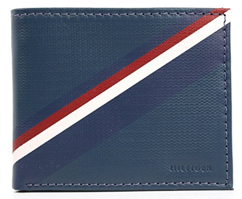 New Tommy Hilfiger Men's Leather Double Billfold Passcase Wallet & Valet (Blue/G