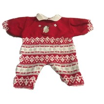 CLAYEUX BABY Infant Romper 6 Month Red Knit Warm Winter Suit French Wool... - $15.14