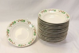 """Everyday Gibson Xmas Charm Holly Berry Soup Bowls 8.125"""" Lot of 16 - $88.19"""