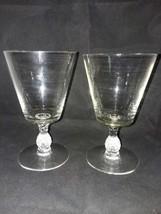 2 Heisey Plantation Thin Pineapple Stem Crystal 8 oz Water Goblet Blown Vintage - $24.99