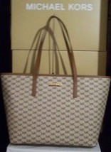 MICHAEL KORS EMRY NWT TOTE HANDBAG NATURAL COATED CANVAS LEATHER TRAVEL ... - $2.466,11 MXN