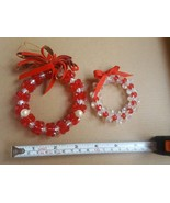 "Lot of  4 Beaded Jeweled Handmade Christmas Tree Ornaments 2"" Wreath Aqu... - $16.82"