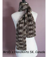 50 Inch Variegated Brown Beige Grey Handknit Scarf - $21.00
