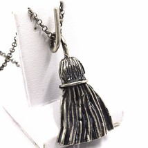 Necklace and Pendant, 925 Silver, Burnished Satin, Broom, Witch, Chain R... - $151.47