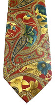Bill Blass Necktie Tie Silk Burgundy Brown Green Paisley Made in USA - €11,14 EUR