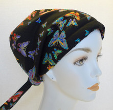 Pretty Rainbow Butterfly Cancer Chemo Hat Hair Loss Scarf Turban Head Cover - $16.95