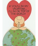 Vintage Valentine Card Ziggy 1970's Comic Strip Character Top of the World - $5.93