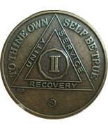 2 YEAR ANTIQUE BRONZE AA MEDALLION ALCOHOLICS ANONYMOUS SOBRIETY CHIP - $6.89
