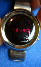 PEPSIMAN USA RED LED VINTAGE FOSSIL PEPSIMAN WATCH RUNS FOR RESTORATION ... - $179.23