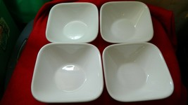CORELLE SQUARE WINTER FROST WHITE 22 OZ CEREAL/SOUP BOWL x 4 FREE US SHIP - $32.71