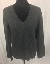 Womens JCREW Gray Grey V Neck 100% Lambs Wool  Sweater Long Sleeve SZ L - $14.99