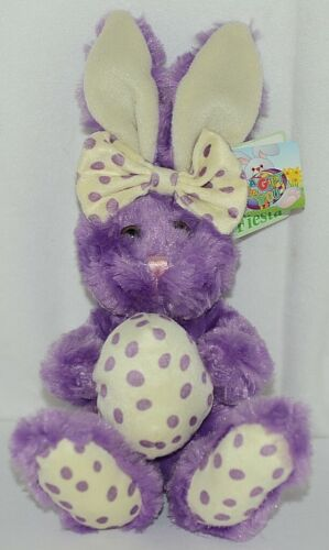 Fiesta Brand E07065 Purple White Polka Dot Sitting Easter Bunny With Bow Egg