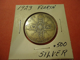 1923 ENGLISH FLORIN COIN    **.500 SILVER**     >> C/S & H AVAILABLE  - $4.99