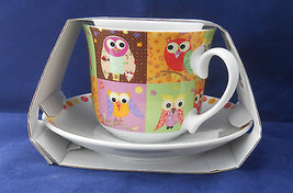 Owls Owl Mug Set Breakfast Cup And Saucer Creative Tops New  - $17.81