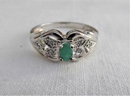 Genuine Natural Emerald Ring 6 Diamonds 925 Silver Estate Size 8 Vintage 1970s - $110.00