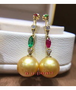 18K Diamond emerald ruby 11-12mm south sea golden pearl earring necklace... - $3,515.50