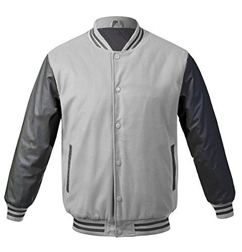 Maximos USA Men's Premium Vintage Baseball Letterman Varsity Jacket (XL, Light G