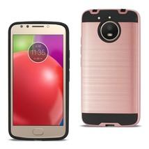 Reiko Motorola Moto E4 Plus Hybrid Metal Brushed Texture Case In Rose Gold - $8.24