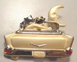 LOVERS LANE Cat Brooch Pin 57 Chevy in Gold-Tone - 2 inches - FREE SHIPPING