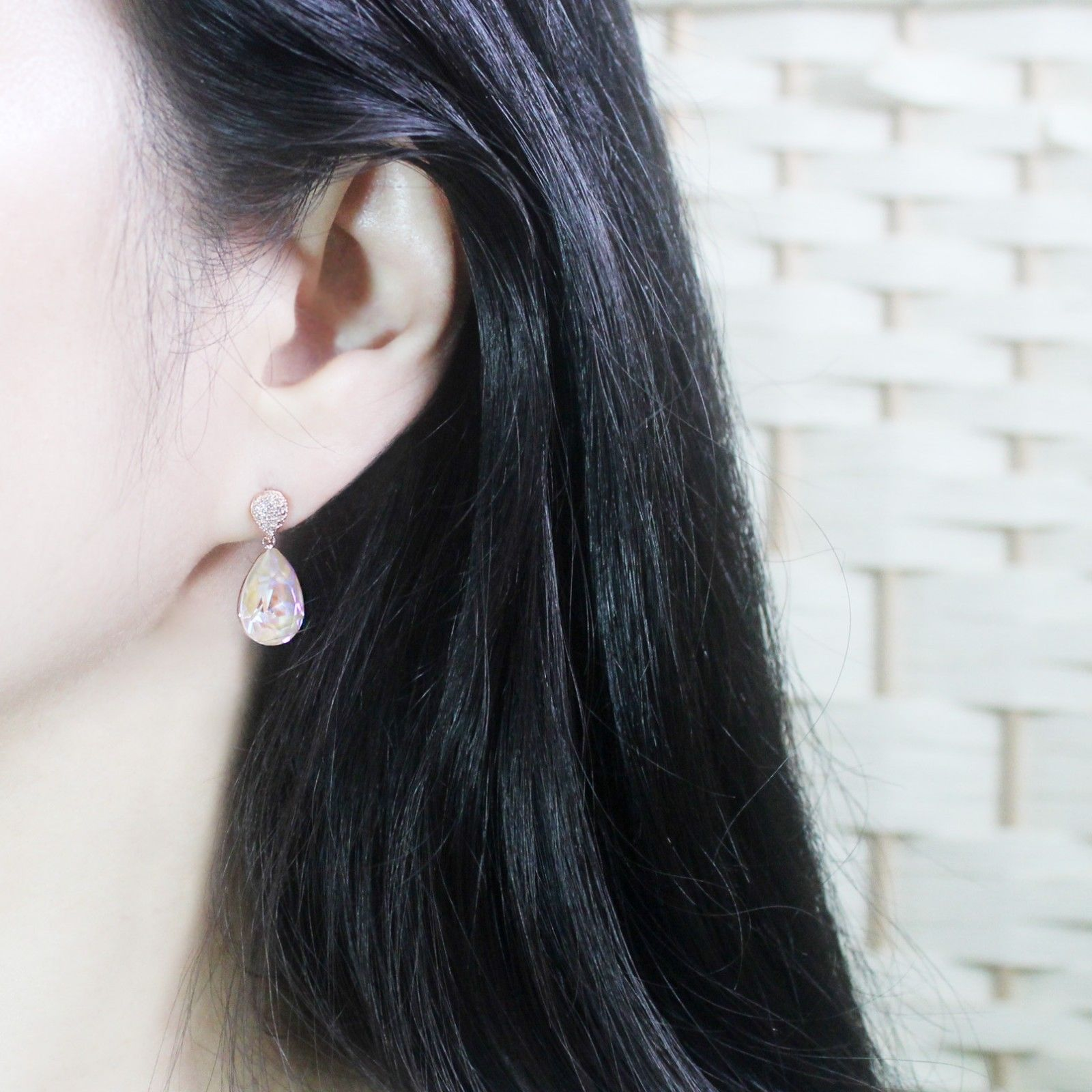 Water Drop Aurora Borealis Made With Swarovski Stone Dangle Earrings 925 Silver image 8