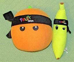 "Fruit Ninja Plush Orange Banana Stuffed Toys 2011 Nanco 8"" + 10"" Halfbrick Toys - $18.69"