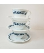 Lot of 3 Corelle Old Town Blue Hook Handle Coffee Cups and Saucers - $13.63