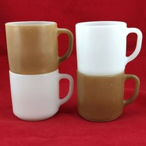 Federal Glass Heat Proof Coffee Tea Mugs Set of 4 Brown & White Made in the USA - $19.95