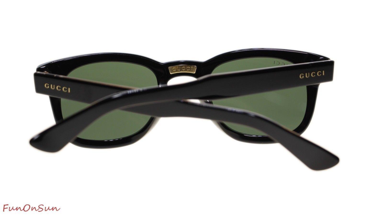 815768db73 Gucci Unisex Sunglasses GG0182S 002 Black Green Lens 49mm Authentic