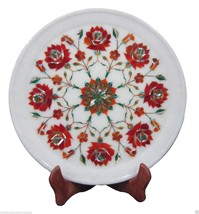 "12""x12"" Marble Serving Plate Carnelian Gem Inlay Marquetry Mosaic Art Decor Gift - $595.36"
