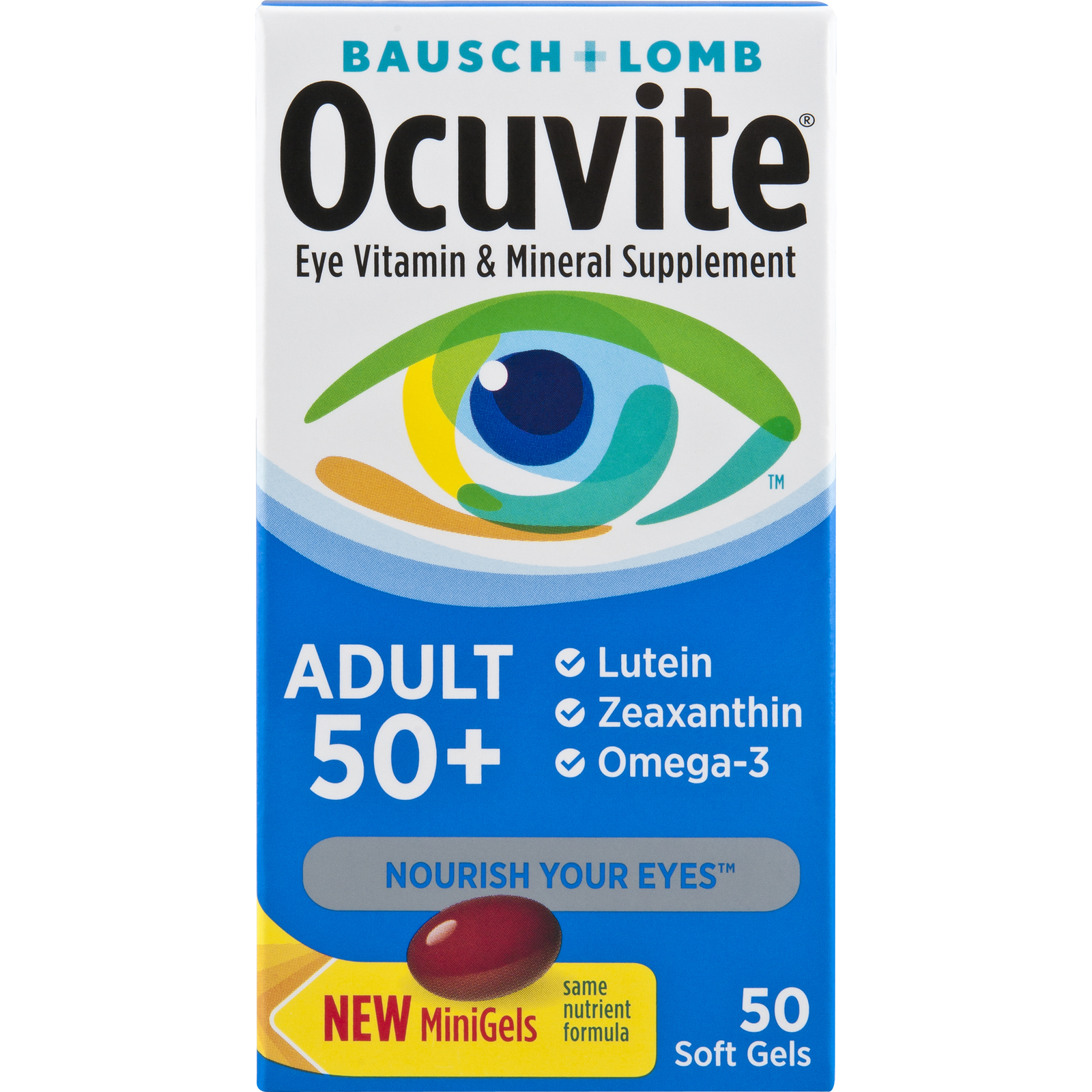 Ocuvite Eye Vitamin Adult 50+ Formula Eye Health Vitamins, 50 Softgels - $14.99
